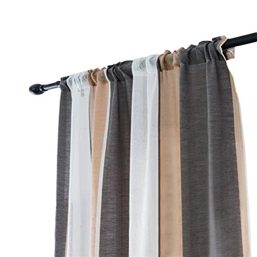 Garneck panel de cortina de gasa cortinas de ventana de tul semi transparentes modernas cortinas para dormitorio cocina baño decoración 100x200cm (café gris)