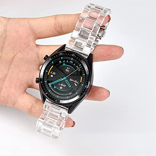 Banda de reloj de acrílico transparente 20 mm 22 mm for Samsung Galaxy Watch 3 45mm Active 2 40mm Strap Band for Wei Watch GT 2 Correa de reloj (Band Color : White, Size : 22mm)