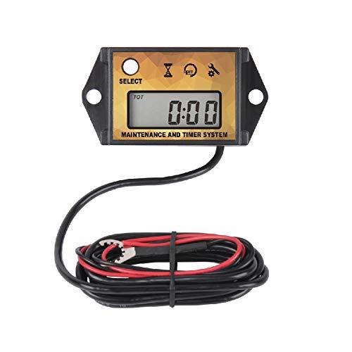Runleader Digitaler Betriebsstundenzähler Drehzahlmesser, Wartungserinnerung, Rückruf bei maximaler Drehzahl, Benutzerabschaltung, Verwendung für ZTR Rasenmäher Traktor Generator Marine(GELB)