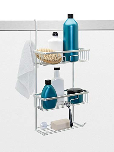 Zenna Home E7416AL NeverRust Aluminum Over The Door Shower Caddy, Satin Chrome