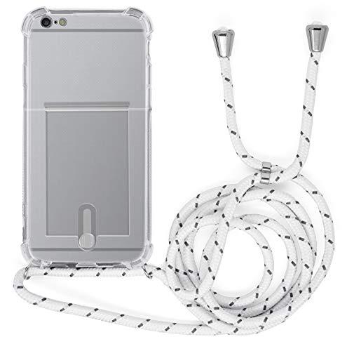MyGadget Funda con Cuerda para Apple iPhone 6 Plus / 6s Plus - Carcasa Transparente en Silicona TPU con Cordón - Case y Correa Colgante Ajustable - Blanco