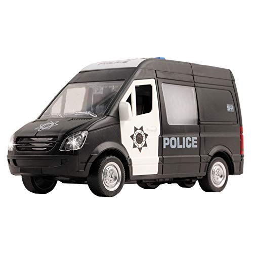 Vokodo Police Truck Rescue Car 1:16 Scale Friction Power with Lights and Sounds Durable Kids SWAT Transport Vehicle Push and Go Pretend Play Toy Cop Van Great Gift for Children Boys Girls Toddlers