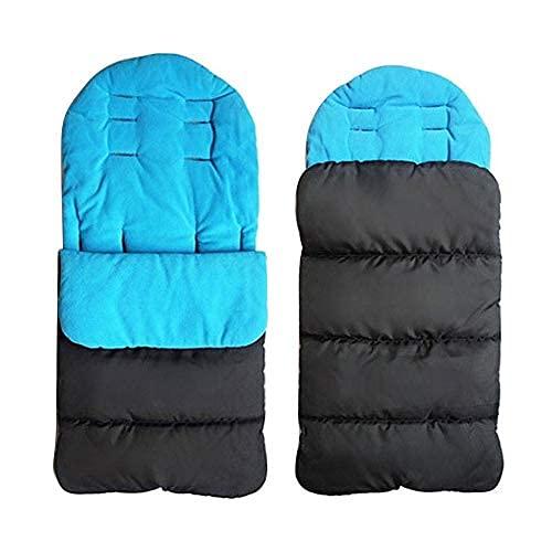 Saco de dormir para cochecito de bebé, con forro polar, acolchado y cálido, resistente al viento, almohadilla de algodón grueso (azul)