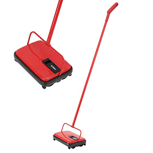 For Sale! E.yliden Red and Black Handy Floor Carpet Sweeper Lightweight Compact Durable and Easy to ...