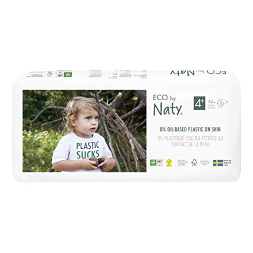 Eco by Naty, Taille 4+, 84 couches, 9-20kg, Couche écologique fabriquée à partir de fibres végétales, 0% de plastique (issu du pétrole) au contact de la peau de bébé.
