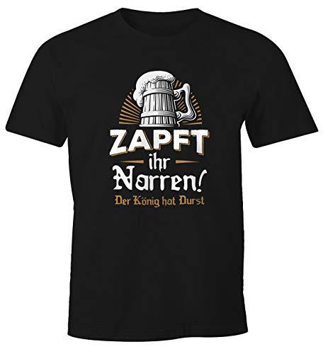MoonWorks Herren T-Shirt Zapft Ihr Narren der König hat Durst Bier Oktoberfest Fun-Shirt schwarz XXL
