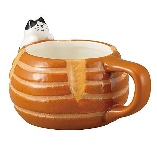 Taza de café de cerámica, diseño de gatito de la serie de pan de panadería Kawaii, taza de 200 ml, pan de campán con el gato ZCB-43823