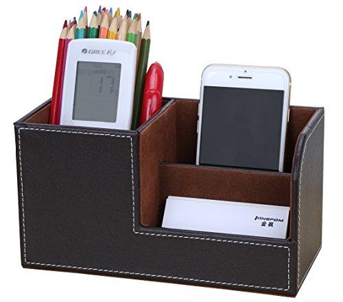KINGFOM 3 scomparti Multifunzionale Portaoggetti da scrivania/Organizzatore di cancelleria/Portapenne da Scrivania/Organizer da scrivania/Portaoggetti da ufficio in Pelle PU (Marrone)