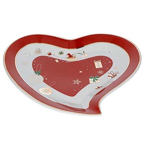 Brandani 53034 Alleluia - Vassoio in porcellana, motivo: cuore, colore: Rosso e Bianco