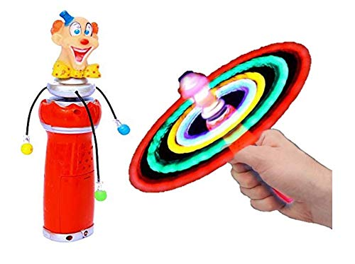 Dazzling Toys Hanukkah Spinner Hand-held Clown with Flashing LED Lights | Stocking Stuffer, Gift Idea, Party Favor