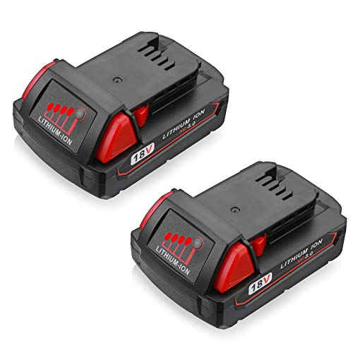 M18 Replacement Battery 3.0Ah Compatible with Milwaukee 18V M18 Power Tools 48-11-1820 48-11-1840 48-11-1850 48-11-1828 48-11-1815 (2-Pack)