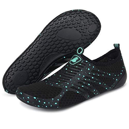 BARERUN Women's Men's Quick Drying Aqua Water Shoes Blue 6.5-7.5 M US Women