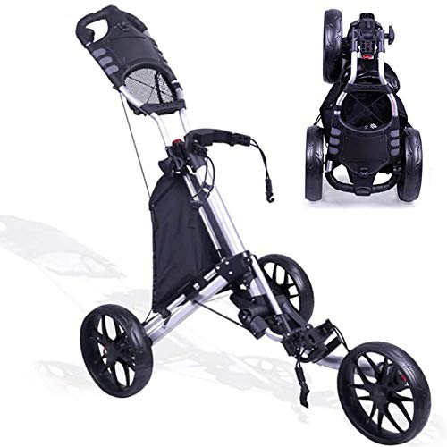 Review Foldable 3 Wheel Push Pull Golf Cart- Foot Brake, Adjustable Lightweight Golf Cart Cup Holder...