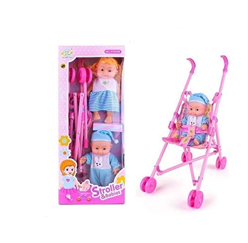 PULSBERY Baby Doll Stroller Foldable Baby Pram for Baby Age 3 Years & Above Fully Assembled Pretend Play Carrier Stroller Toy with Baby Doll for Girls & Boys(Multi Color) (Stroller Girl 2)