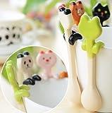 uchic 2pcs Lovely Animal de cerámica cuchara cucharilla cuchara para salsa cuchara agitación cuchara de café mezcla creatividad dibujos animados Vajilla estilo al azar