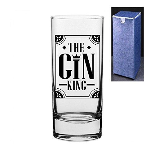 fantaisie gravé/imprimé Cocktail Highball Gin et Tonic Vodka en verre – Le Gin King Do Not Engrave A Message On The Reverse Side Noir