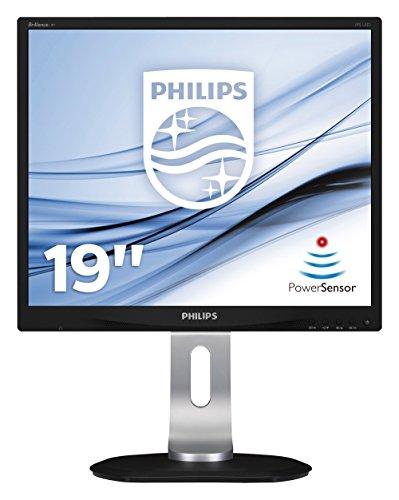 """Philips 19P4QYEB Monitor 19"""" LED IPS, Flicker Free, 5:4, 1280 x 1024, 5 ms, Display Port, DVI, VGA, USB, Regolabile in Altezza, Girevole, Pivot, Inclinabile, Casse Audio Integrate, Attacco VESA, Nero"""