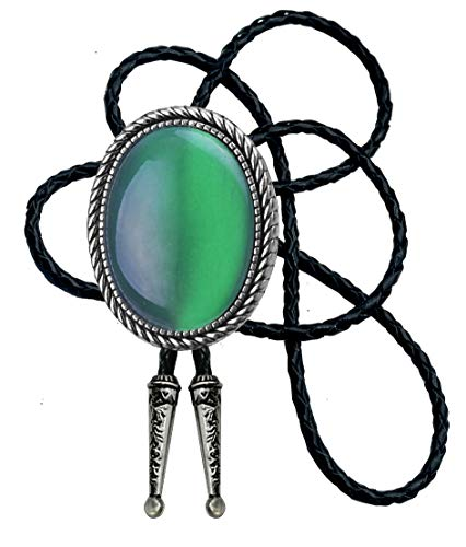 Moranse Bolo Tie With Emerald Blue And Black Stone Celtic Style Genuine and Cowhide Rope (Emerald)