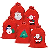 5 Sacos de Navidad Papá Noel, Sacos Rojos Santa, Bolsas Regalo Navideñas, 60cm  Fieltro Premium, Ecológico, Resistente  Envoltorio de Regalo Práctico y Fácil para Niños, Fiestas, Paquetes de Regalo.