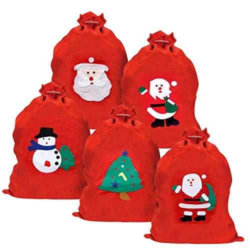 5 Weihnachtssack, Rot Nikolaussack Geschenktüten, Weihnachtsmann Geschenkbeutel, 60cm| Premium Filz, Umweltfreundlich & Robust| Praktische Geschenkverpackung für Kinder, Goody, Partys, Geschenke.