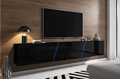WFL GROUP Mueble de Soporte de TV Moderno de Pared o de Pie con LED (RGB) - 240 cm - hasta TV de 88' - Negro Alto Brillo