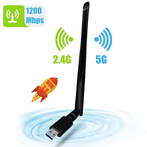 WLAN Stick, NINECY 1200Mbit/s Dualband (5G/867Mbps+2.4G/300Mbps) WiFi Adapter USB 3.0 WiFi Dongle Wireless WLAN Empfänger mit 5dBi Antenna für Windows/Mac OS/Linux/Desktop/Laptop/Notebook