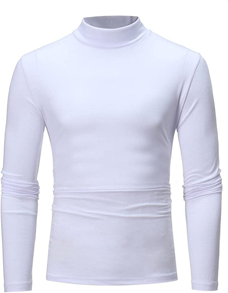 Burband Mens Casual Slim Fit Turtleneck T Shirts Long Sleeve Basic Cotton Pullovers Sweaters Lightweight Thermal Baselayers