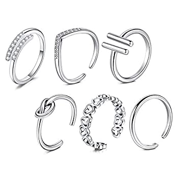 MODRSA Silver Toe Rings for Women Adjustable Simple Open Band Flower Fingers Joint Knuckle Tail Ring Hypoallergenic Foot Jewelry for Sandals
