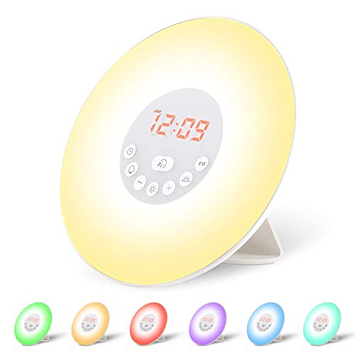 Wecker Wake Up Light Lichtwecker, mit 7 Wecktöne (inkl. 2Naturklänge und FM), 7Farben, 10Dimmstufen, Sonnenaufgangssimulator, Nachtlicht mit Adapter, Wecker für Kinder oder Erwachsene … (6638)