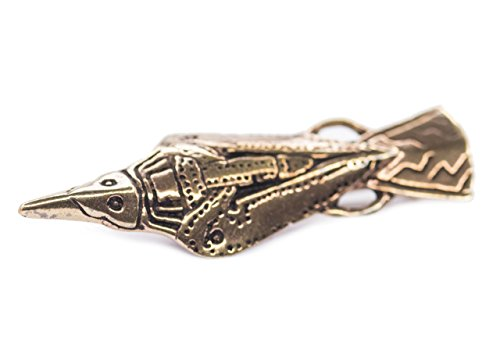 Windalf Wikinger Rabenfibel Munin h: 4.6 cm Mittelalter Hochwertige Bronze