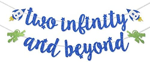 Dark Blue Glitter Two Infinity and Beyond Banner Pre-strung for Kids' 2nd Birthday Party Decorations