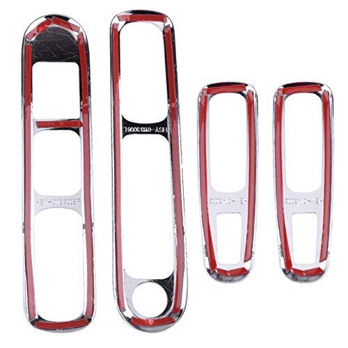 Interior automotriz Cromo del coche for paneles de puertas Apoyabrazos titular de la manija del interruptor elevalunas botón Ajuste de la cubierta en forma for el Peugeot 3008 2009 - 2013 2014 2015