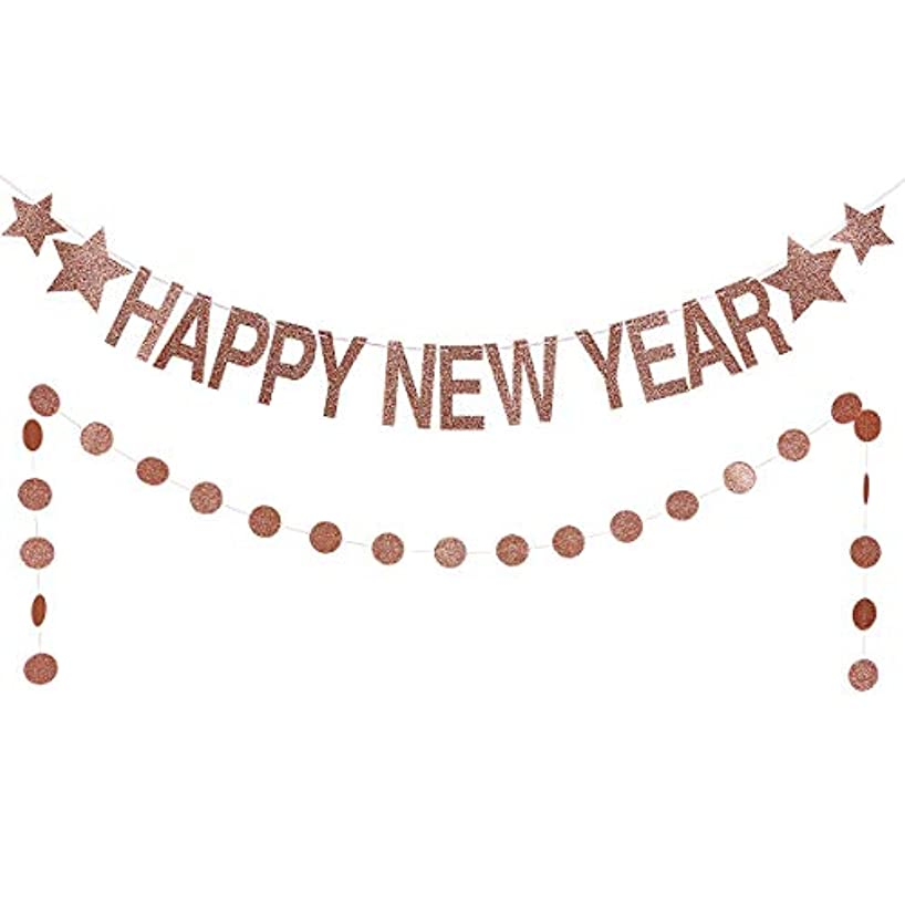 Rose Gold Glittery Happy New Year Banner -2019 New Year Eve Party Decorations- New Year Party Supplies- Gold Glittery Circle Dots Garland