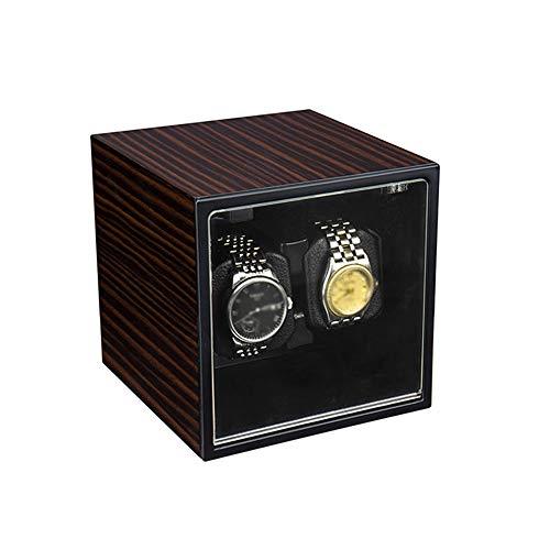 Jlxl Enrollador Automático Doble Reloj, Motor Extremadamente Silencioso, Carcasa Madera y Metal Cepillado, Relojes Fit Lady and Man Accesorios (Color : C)
