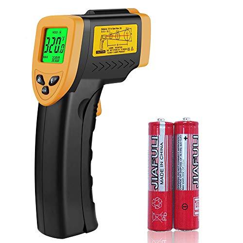 IR-Infrarot-Thermometer, berührungslos, digitales Laser-Infrarot-Thermometer, Temperaturpistole mit LCD-Display für Küche, Lebensmittel, Fleisch, BBQ und Industrie, gelb/schwarz