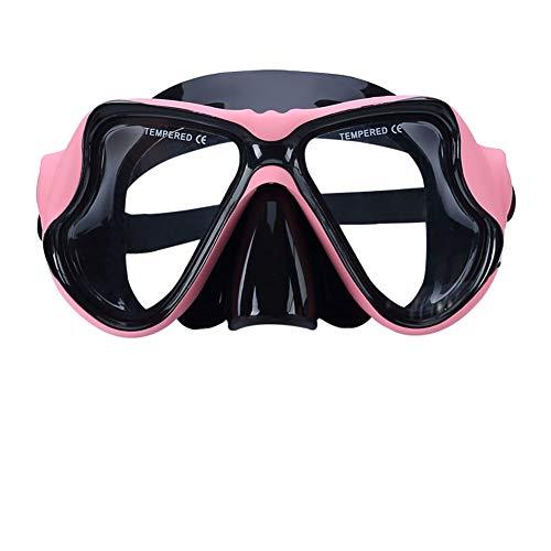 QZH Marco Grande Anti-Niebla Gafas de Buceo, Snorkel Profesional Equipo Colorido Espejo Ninguna Fuga visión Clara para Adultos cómodo Marco Grande Gafas de natación