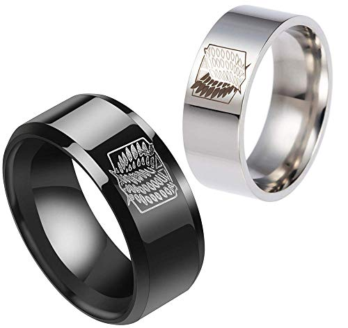 MYTY Anime Attack on Titan Wings of Liberty Sign Stainless Steel Ring Creative Unisex Couple Titanium Popular Gifts Rings -8_Black&Sliver