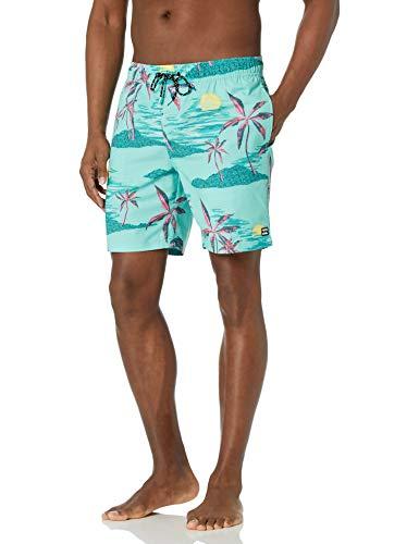 Billabong Men's Elastic Waist Stretch Sundays Layback Boardshort Swim Short Trunk, 17 Inch Outseam, Dark Mint, XL
