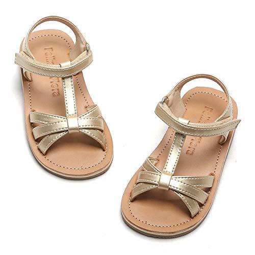 Toddler Girl Gold Sandals - Little Kids Easter Dress Shoes Size 9 for Summer Flower Girl Party Wedding School Flats