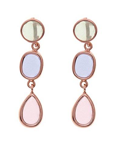Córdoba Jewels | Pendientes en plata de Ley 925 bañada en oro rosa. Diseño Trio Luxury Oro Rosa
