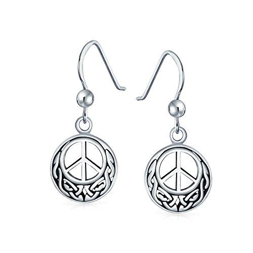 Peace Sign Symbol Celtic Knotwork Celtic Irish Love Knot Work Drop Earrings For Women Teen Oxidized 925 Sterling Silver