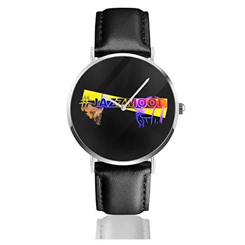 Unisex Business Casual Jazzmood Saxophon Uhren Quarzuhr Lederarmband schwarz für Herren Damen Young Collection Geschenk