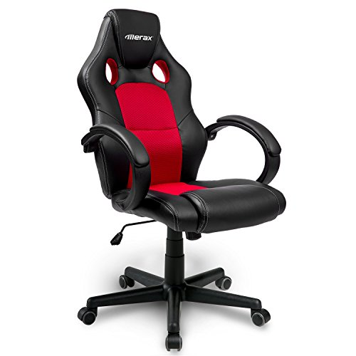 Merax® Chefsessel Bürostuhl Racing Stuhl Sportsitz Drehstuhl PU schwarz/Rot Bürodrehstuhl mit hoher Rückenlehne - Farbauswahl