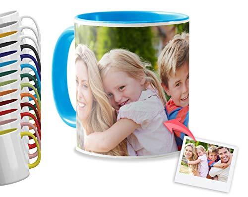 Tazas Personalizadas con el Interior y asa de Color | Diséñalas con Fotos y Texto | Tazas Color: Azul Celeste