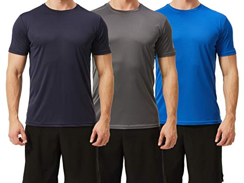 TEXFIT Men's 3 Pack Active Sport Quick Dry T-Shirts (3 pcs Set) (M, PRO Series - Dark Grey/Navy/Royal)