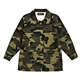 Toddler Kids Baby Girl Camouflage Jacket Coat Casual Denim Windbreaker Button Down Outerwear Winter Fall Outfit Clothes (Letter Camo,2-3 Years)