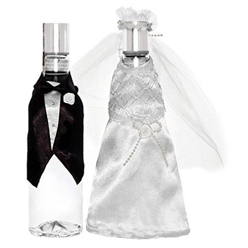 Wodka-Flaschen Hochzeit Deko-Kleidung 2er Set Braut - Bräutigam Verkleidung Flaschenkleidung. Von Haus der Herzen ®