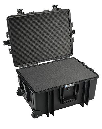 B&W International GmbH Outdoor Case Hartschalenkoffer Typ 6800 mit Schaumstoff (Hardcase Koffer IP67, SI Würfelschaum, wasserdicht, Innenmaß 58,5x41,5x29,5cm, Schwarz