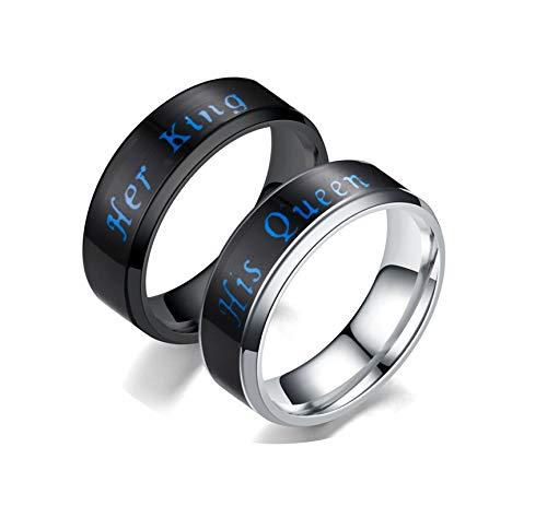 KnBoB Ringe 1 Paar Graviert Her King&His Queen Schwarz Silber Bandringe HerrenRinge Damen Gr.62 (19.7) & Herren Gr.62 (19.7) Edelstahl Ringe