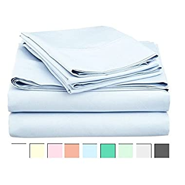 LINENWALAS 100% Cotton Sateen Sheets – 800 Thread Count Deep Pocket Bed Sheet Set | Silk Like Soft, Breathable & Cooling | Best Sheets Hotel Luxury Bedsheets Clearance Deal (Queen Size,Sky Blue)